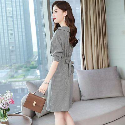 秋款女装连衣裙新款2020洋气千鸟格裙子韩版秋装收腰七分袖包臀裙