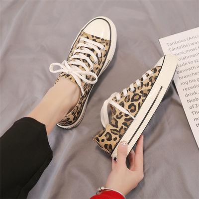 豹纹低帮经典帆布鞋女学生春季韩版2020新款百搭休闲板鞋ins1970s