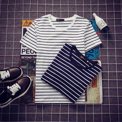 2019青少年春夏新款简约线条时尚打底衫黑白条撞色男士短袖T恤薄