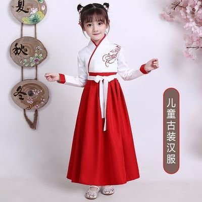 新款儿童古装汉服男女书童服装国学汉服小仙女改良襦裙表演出服装