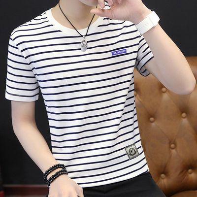 【纯棉】新款圆领短袖T恤男条纹短袖男青少年休闲百搭韩版