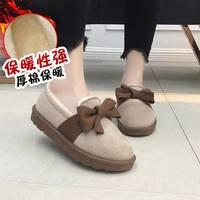 2018冬季加棉豆豆鞋女学生韩版蝴蝶结懒人鞋女一脚蹬乐福女棉鞋