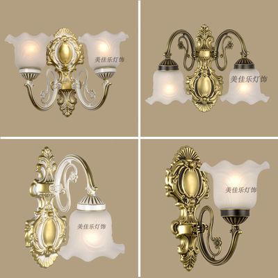 欧式壁灯温馨美式led卧室床头灯客厅背景墙双头简欧布艺复古壁灯