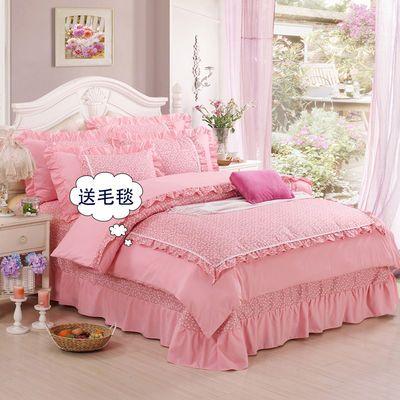 韩版床裙式四件套公主风花边床单被套春秋1.5m/1.8米/2.0床上用品