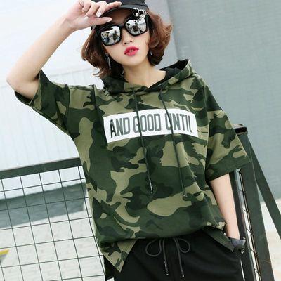 迷彩t恤女短袖连帽韩版女装夏季新款宽松字母印花上衣大码半袖