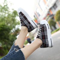 2019春新款原宿韩版帆布鞋经典格子系带跑步鞋学生百搭运动女鞋