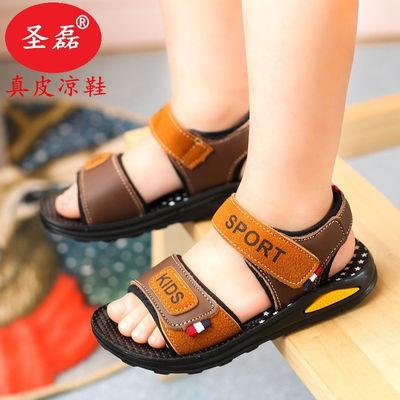 男童凉鞋新款夏季儿童真皮凉鞋软底耐磨轻便魔术贴沙滩凉鞋