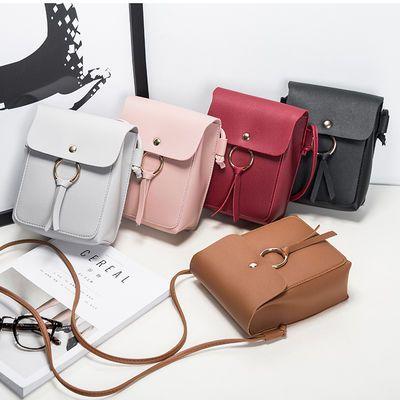韩版新款女包圆扣装饰休闲小方包单肩斜挎包手机包小包包时尚潮流