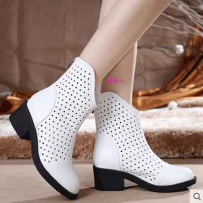 真皮女鞋春秋单靴子真皮平底洞洞靴镂空短靴休闲小白靴高跟夏凉靴