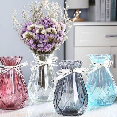 欧式玻璃花瓶创意简约透明水培绿萝植物干花瓶客厅插花桌面摆件