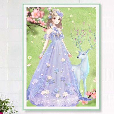 满钻新款钻石画2020卡通麋鹿女孩点贴砖十字绣公主仙子卧室5D钻绣