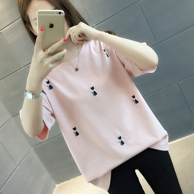 短袖t恤女夏季2020年新款女装宽松夏装白色半袖体恤刺绣上衣ins潮