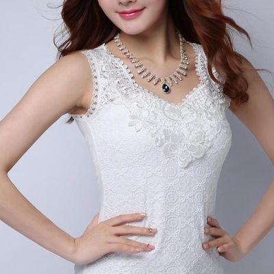 新款女士背心女夏季胖mm白色短款内搭大码吊带衫蕾丝打底外穿上衣