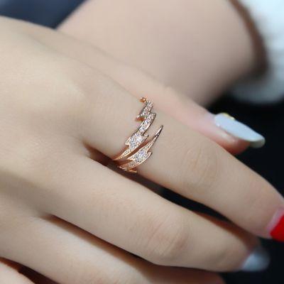 玫瑰金戒指女饰品日韩潮人个性食指指环情侣对戒开口戒时尚尾戒男