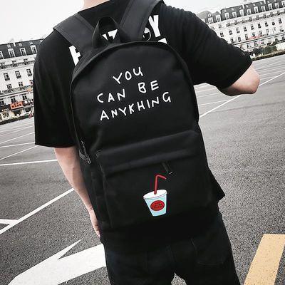 韩版可乐双肩包初中高中校园学生书包男时尚潮流青年休闲帆布背包