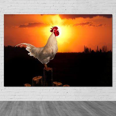 大红公鸡海报大公鸡贴画挂画金鸡报晓贴画墙画装饰画房间贴画制作
