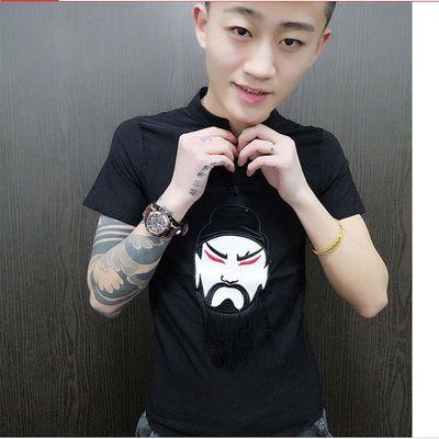 快手红人同款短袖男T恤修身刺绣中国风关公半袖社会精神小伙个性