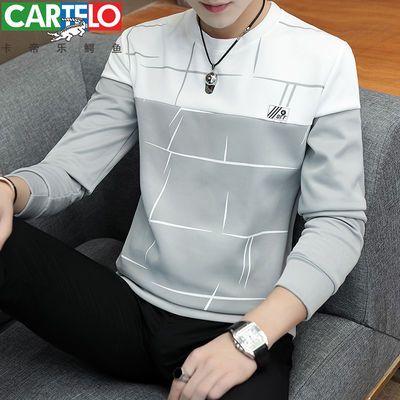 【卡帝乐鳄鱼】春季新款长袖t恤圆领韩版修身卫衣上衣服潮牌男装