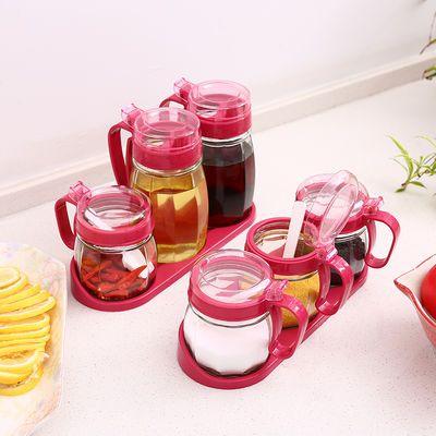 厨房用具调味罐油壶套装 佐料盒糖罐盐罐组合 高白加厚玻璃制品