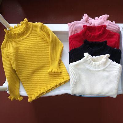 儿童毛衣荷叶边套头童装针织衫宝宝女童打底衫0-6岁女孩贴身毛衣
