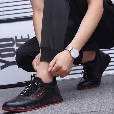 新款单棉同款皮鞋防水皮面男士运动鞋跑步鞋加绒棉鞋韩版休闲潮鞋