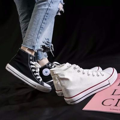 ins高帮帆布鞋板鞋女学生韩版ulzzang港风原宿布鞋百搭平底鞋潮鞋