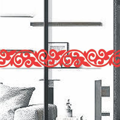 定制花边腰线贴 防撞贴 线条 玻璃门窗 橱窗柜镜子白色镂空墙贴