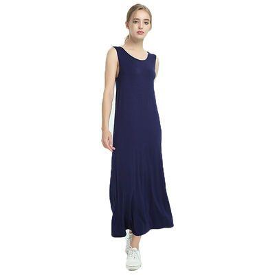 女背心无袖长裙120cm大码莫代尔加肥加大胖mm纯色显瘦吊带连衣裙