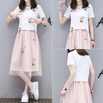 夏季套装裙女2020新款女装韩版时尚T恤网纱裙两件套学生连衣裙 潮
