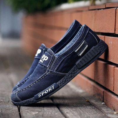 春秋男鞋一脚蹬学生帆布鞋男士百搭靴驾车懒人豆豆鞋子男老北京鞋