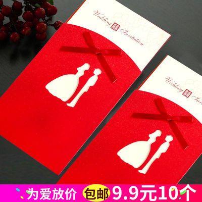 喜贴结婚请柬中国风格婚礼用品创意蝴蝶结荧光高档邀请函红色喜帖
