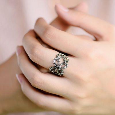 复古仿泰银夸张四叶草戒指女镶钻日韩简约做旧关节指环个性食指戒