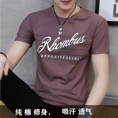 男士纯棉短袖t恤韩版修身圆领印花半袖青年学生夏季男装纯色T恤潮