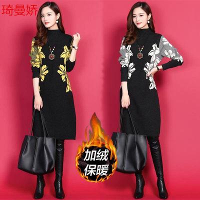 琦曼娇秋冬新款大码印花裙子韩版修身显瘦长袖中长款加厚连衣裙女