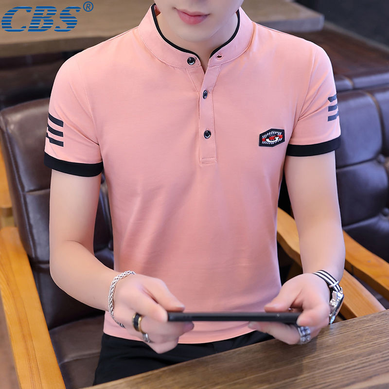 [CBS Authentic] 95% Cotton Men's Polo Men's Lapel Short Sleeve T-shirt Men's Cotton Sweatshirt Men's Summer