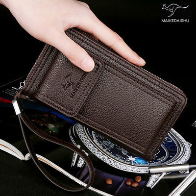 【正品袋鼠】男士真皮质感手机包钱包长款手拿包时尚多卡位钱夹子