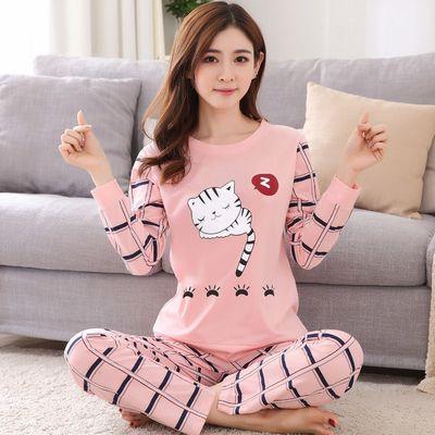 长尾猫   卡通韩版可爱家居服女士宽松薄款秋季套头两件套装