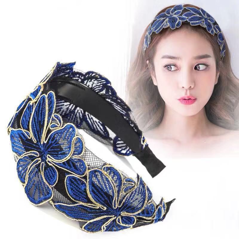 便宜的【品质优选款】超宽边定型网蕾丝发箍头箍成人压发夹卡带齿头卡