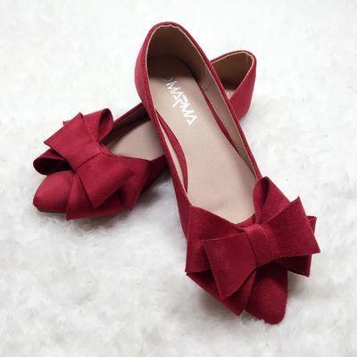 2020春季新款蝴蝶结尖头平底鞋女鞋浅口红色平跟单鞋大码女鞋