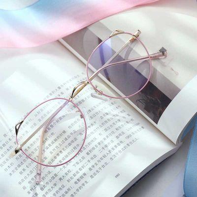 眼镜近视防辐射防蓝光男潮人性平面镜无度数平光镜圆框眼睛女