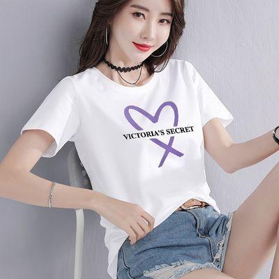 95棉2020夏季新款圆领短袖T恤女韩版宽松休闲百搭印花体恤打底衫
