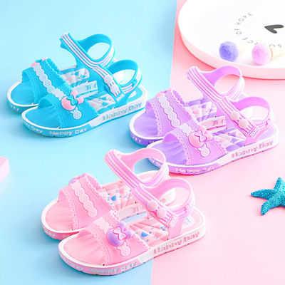 防滑柔软环保材质2019新款女童凉鞋小中大童公主鞋韩版儿童沙滩鞋