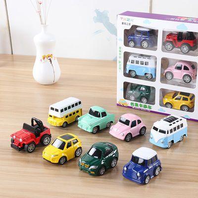儿童Q版合金车回力玩具车套装男孩迷你小汽车模型宝宝小车车巴士