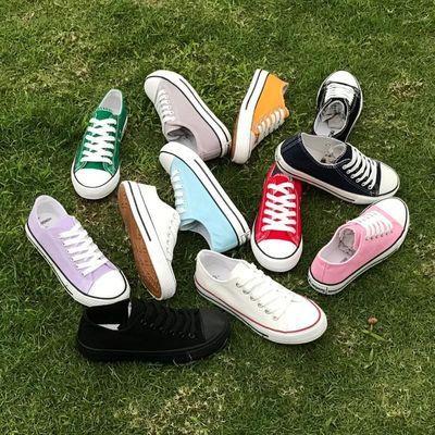 2020春季学生帆布鞋女休闲小雏菊板鞋韩板百搭糖果色透气小白鞋子