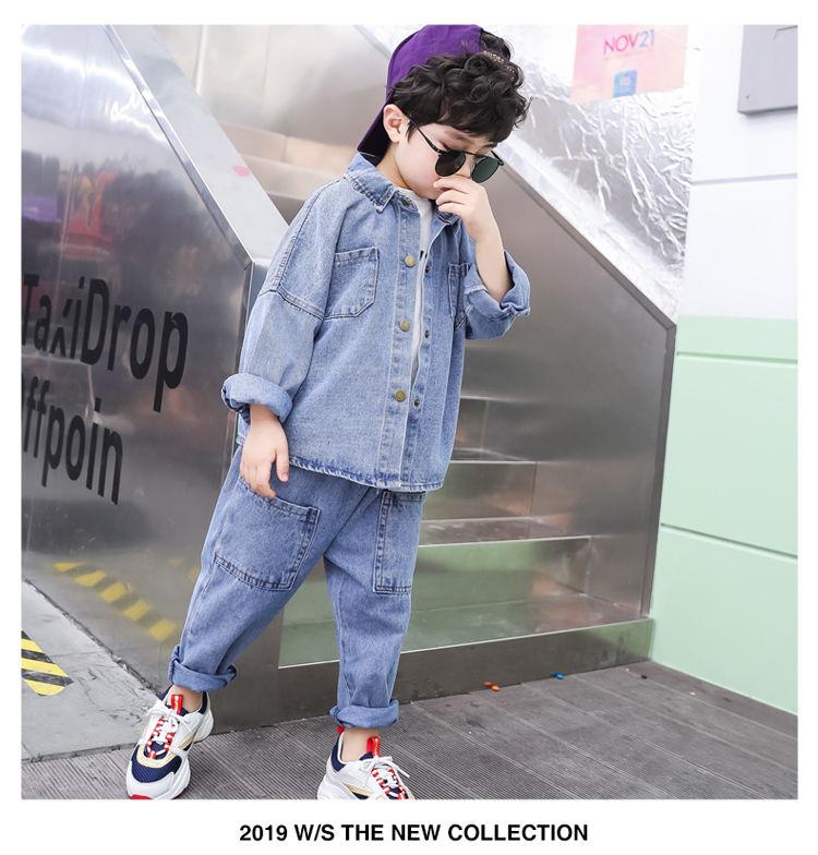 新款#儿童衣服兒童套裝春秋季男童洋氣牛仔兩件套中大童休閑帥氣韓版男孩潮#儿童套装pdd