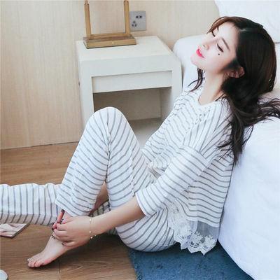 睡衣女夏秋季少女学生韩版长袖套装清新大码宽松家居服春秋月子服