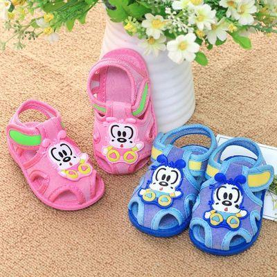清仓  20201岁2岁宝宝布凉鞋防滑软底学步鞋公主可爱儿童叫叫鞋