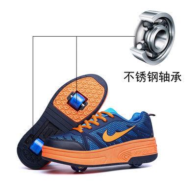 双轮暴走鞋儿童网面透气滑轮鞋男童女童带轮的运动鞋变形鞋爆走鞋