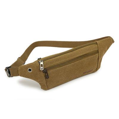 男士腰包帆布多功能手机包收银包户外跑步包运动腰包