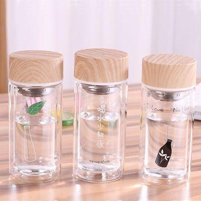 双层隔热玻璃杯子女学生韩版可爱水杯原宿情侣带滤网杯子便捷茶杯
